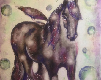 Original 11x14 painting on canvas, horse mixed media, watercolor