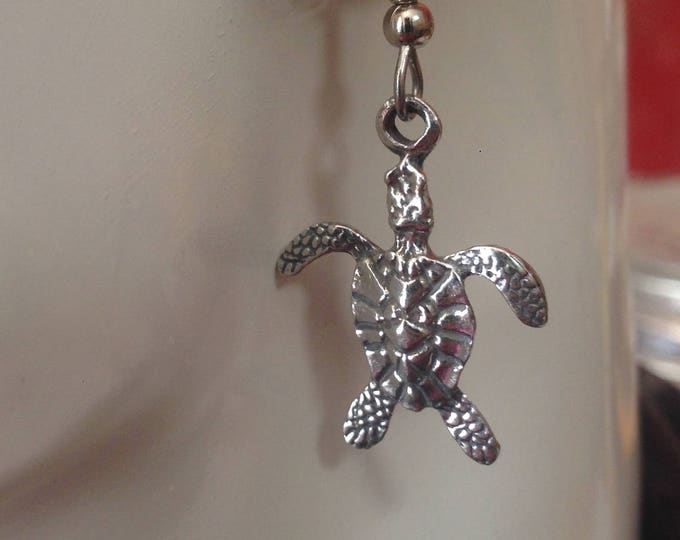 Turtle earrings made with Australian Pewter and Surgical Steel hook