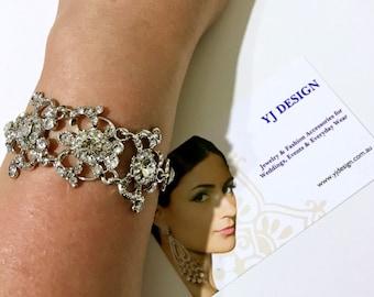 Victorian Bridal Bracelet, Swarovski Crystal Wedding Bracelet, Vintage Wedding Jewelry, Silver Bracelet, Glamour Bridal Jewelry, ARMANIA