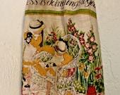 Plastic Bag Holder   Repurposed Vintage Calendar Tea Towel
