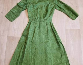 Vintage Green Brocade Party Dress, Prom Dress, 1950s Dress, Formal, Viva Las Vegas, Pinup Dress, Rockabilly