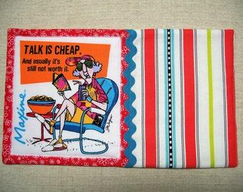 Maxine, Fabric Mug Rug, Snack Mat, Candle Mat, Funny, Red Mug Rug