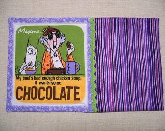 Maxine, Fabric Mug Rug, Snack Mat, Candle Mat, Funny, Purple Mug Rug