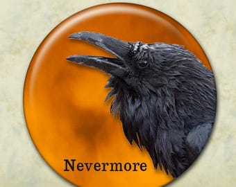 The Raven, Pocket Mirror, Edgar Allan Poe, Nevermore, Dark Poetry, Gothic Accessory