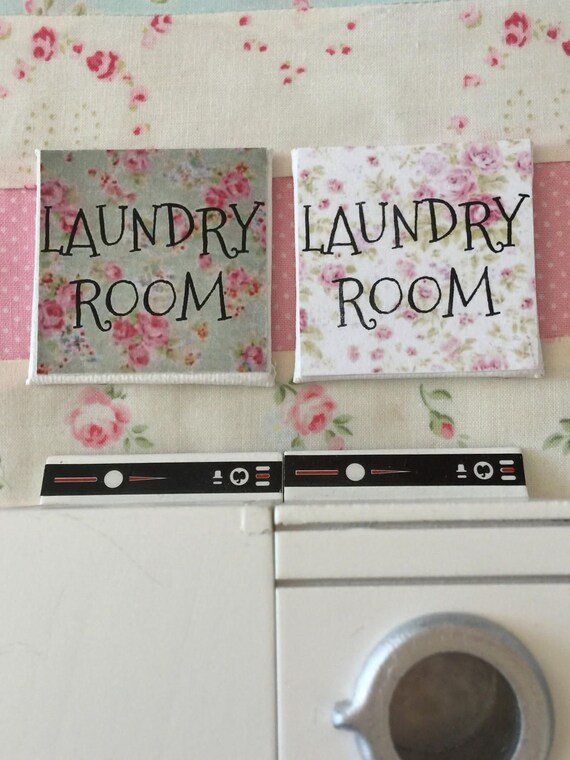 "Miniature Dollhouse Laundry Room Art Sign Canvas 2"" x  2"""