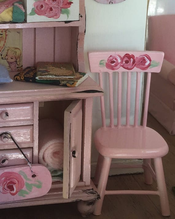 Hand painted Pink Dollhouse Chair-