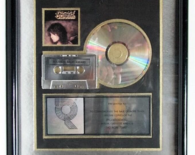 Ozzy Osbourne Platinum Record Sales Award RIAA No More Tears  Certified Music Industry Award Black Sabbath