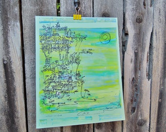 CLIFFHANGER #16 beach cityscape in California colors on mint green by Kathryn DiLego