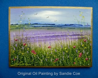 Original Miniature Oil Painting  . ACEO 3.5 x 2.5 inches  . Lavender Fields by Sandie Coe