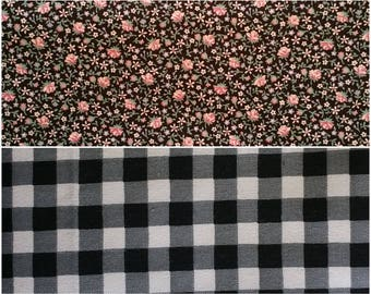 BK002 ~ Lot of 2 fabrics Black fabric Mini print Pink roses Quilting fabric Checked fabric Black and white Large checks Quilt fabric
