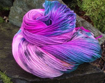 Handpainted sock yarn, fingerling yarn, wool sock yarn Superwash Merino yarn 100 grams-Pony