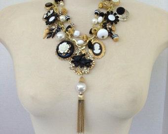 Black two strand vintage necklace
