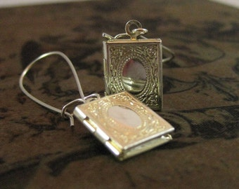 Silver Book Locket Earrings librarian gift book jewelry book pendant book lover for her book lover gift necklace miniature book teacher gift