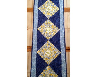 "Table Runner, 14"" x 54"", blues and yellows table runner"