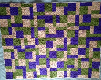 "Sale was 125.00 now 99.00   Coral, green and purple Lap quilt, wall hanging, 51""x64"""