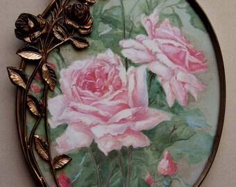 Roses, Art Print, c1905 Antique Frame, Framed Art, Catherine Klein, Shabby Chic Decor, Vintage Roses