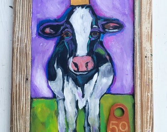 Folk Art Cow Painting in a Rustic Frame
