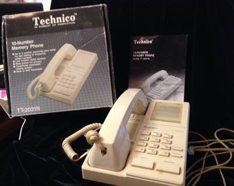 Beige Vintage telephone with wall jacks instructions cords and original box TECHNICO TT2031N