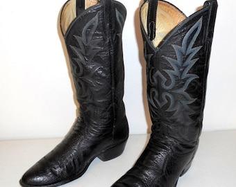 Mens 8 D Ostrich Leg Dan Post Cowboy Boots Black Leather Vintage Western Country Exotic