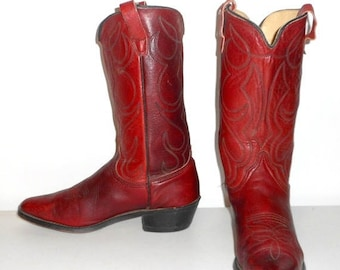 Wrangler Cowboy Boots Mens 8.5 D Oxblood Red Vintage Western Shoes Womens 10