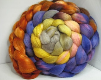 Organic Polwarth/Bombyx 80/20 Roving Combed Top 5oz - Painted Desert 1