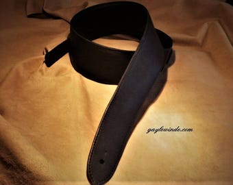 "Black Oil Tanned Custom Leather Guitar Strap / 3"" Wide / Padded / Leather Lined / Ergonomic Comfort"