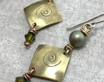 Wire Wrapped Jewelry Handmade Earrings Mixed Metal Earrings Rustic Brass Jewelry Wire Wrapped Jewelry Earrings Artisan Dangle Earrings