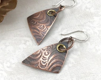 Mixed Metal Earrings Artisan Jewelry Handmade Rustic Earrings Wire Wrap Jewelry Tribal Jewelry Oxidized Copper Earrings Dangle Earrings