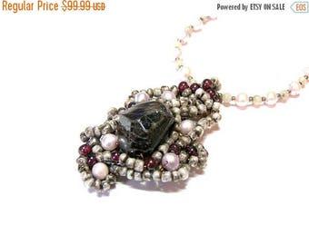 On Sale Garnet Pendant Woven Pendant Beaded Necklace Pearl Garnet Jewelry for Women Gifts for Women