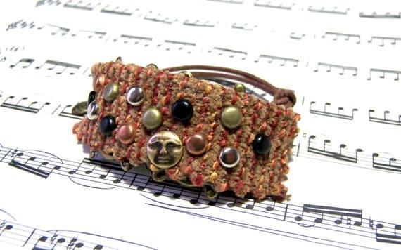 Chic Fabric Cuff Boho Jewelry for Women Man In the Moon Top Selling Jewelry Hippie Jewelry Cuff Most Popular Jewelry