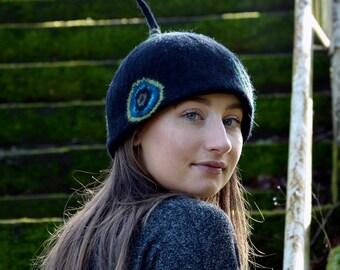 Pixie felt hat Felt Hats Felted wool hats Womens winter hats Felt hat for women unique felt hat  Women's wool hat Unique Gift Felted Hat