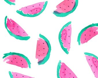 Watercolor Watermelon Fabric - Watermelon 2 By Erinanne - Watermelon Cotton Fabric By The Yard With Spoonflower
