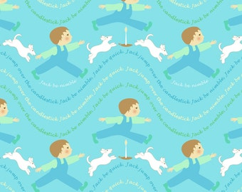 Blue Nursery Rhyme Fabric - Lullaby Jack Be Nimble By Vo_Aka_Virginiao - Mother Goose Cotton Fabric By The Yard With Spoonflower