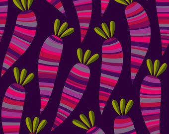 Purple Carrot Fabric - Purple Carrots By Fattcheese - Root Vegetable Purple Carrot Kitchen Decor Cotton Fabric By The Yard With Spoonflower