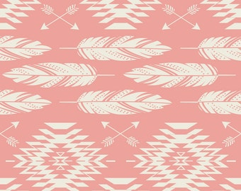 Navajo Feathers and Arrows Fabric - Native Roots - Coral Cream By Bohemiangypsyjane - Boho Tribal Cotton Fabric By The Yard With Spoonflower