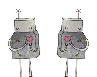 Robot Watercolor Fabric - Love Bot By Hikomari - Watercolor Geek Chic Kids Cotton Fabric By The Yard With Spoonflower