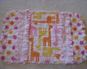 SALE 1 New Handmade  Baby Girl Pink Orange Yellow Giraffes Burp Cloth with Minky backing