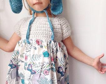 Girls dress - baby dress - girls easter dress - moon stories fabric knit dress - hand made modern bunny dress - white easter dress