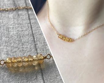 Citrine Necklace - Delicate Gold Filled Raw Citrine Necklace