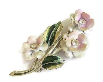 Flower Bouquet Brooch in Soft Pink Enamel & Rhinestone Vintage