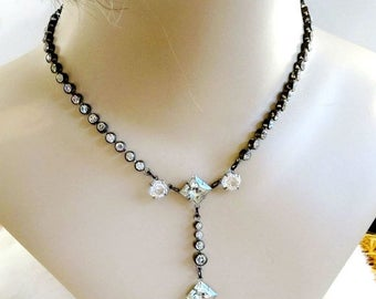 Art Deco Clear Rhinestone Necklace with Cut Glass Long Drop Vintage Gatsby