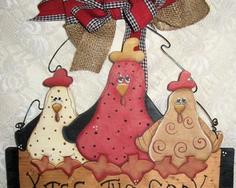Chicken Kitchen Decor Country Chicks Wood Chickens Whimsy Chickens Kiss The Cook