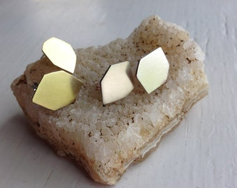 HEX Stud Earrings in Silver or Brass