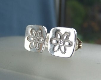Sterling Silver Stud Earrings - FLOWER SQUARES 1 - Little Flowers Studs - Hand Stamped Textured Metalwork Jewelry - Shiny or Oxidised