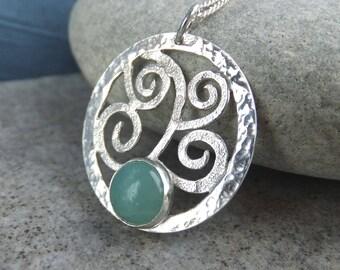 Amazonite Sterling Silver Textured Waves & Dappled Circle Pendant - Handmade Metalwork Wirework Gemstone Necklace - Sea Themed Jewellery