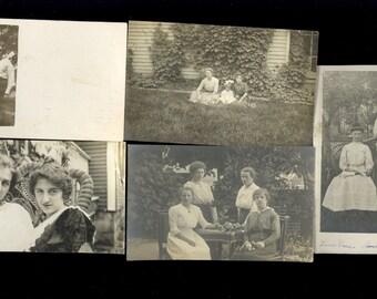 5 Real Photo Postcards Women Fashion Dress Marion Ohio Stamp RPPC Lot R67
