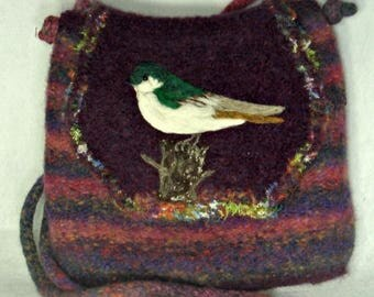 MY BIRTHDAY SALE Felted Purse, Felted Handbag, Violet Green Swallow Bird, Bird Art,hand knit purse, wool purse