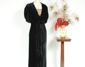 Vintage 1930s Dress - Exquisite Jet Black Velvet Bias Cut Old Hollywood Gown with Inset Gold Lamé