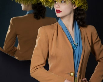 Vintage 1940s Jacket - Spring 2017 Lookbook - The Hazeltine Jacket - Camel Colored Wool Gabardine Tailored 40s Jacket with Strong Shoulders