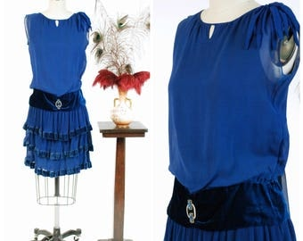 Vintage 1920s Dress - Luscious Royal Blue Silk Chiffon and Velvet Drop Waist 20s Dress with Tiered Pleated Skirt and Built in Slip